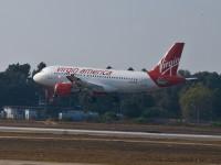 Virgin America airplane departing