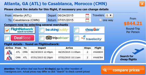Round trip flights to casablanca from 844 for Cheap round trip flights from chicago