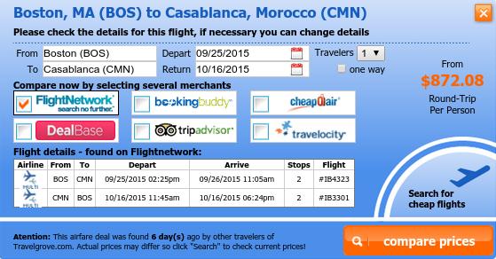 Boston to Casablanca flight deal