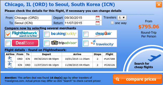 Cheap flight deal from Chicago to Seoul