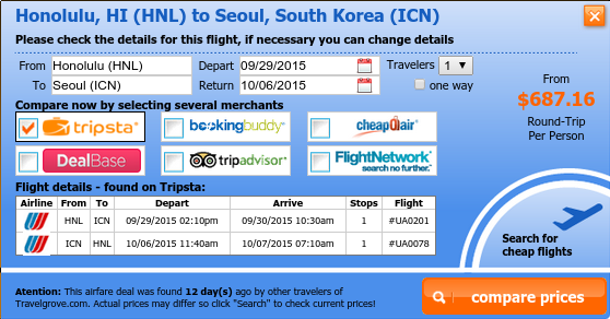 Airfare deal from Honolulu to Seoul