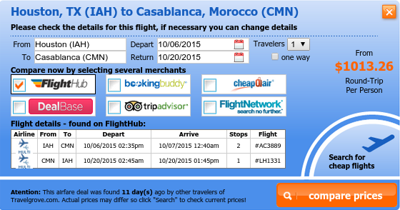 Airfare from Houston to Casablanca