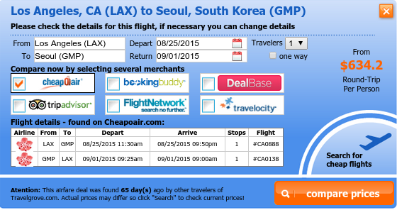Los Angeles to Seoul flight deal