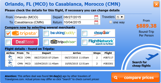 Fly from Orlando to Casablanca