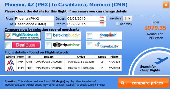 Phoenix to Casablanca airfare deal