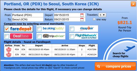 Portland to Seoul flight