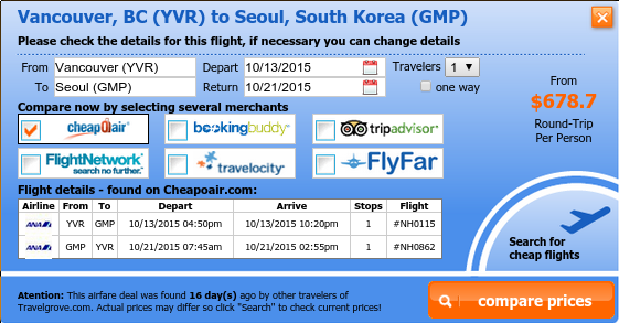 Cheap flight from Vancouver to Seoul