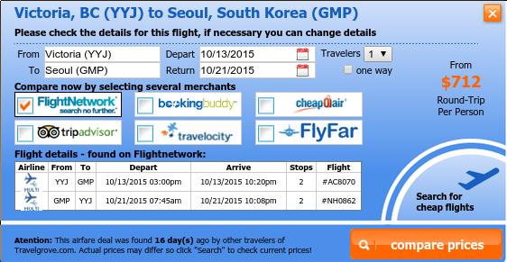 Victoria to Seoul airfare on sale