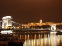 Budapest night view over the Chain Bridge and the Buda Castle