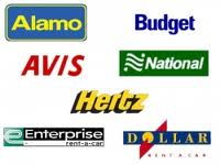 Car rental company logos, Alamo, Avis, Hertz, Enterprise, National, Dollar