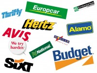 Logos of Avis, Alamo, Budget, National, Enterprise, Thrifty, Sixt and Hertz car rental companies