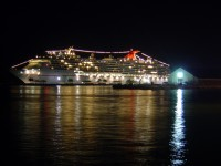 Carnival Pride cruise ship by night