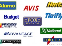 Logos of Avis, Alamo, Hertz, Enterprise, National, Budget, Dollar, Thrifty car rental companies