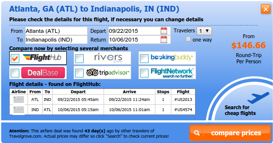 Airfare deal from Atlanta to Indianapolis
