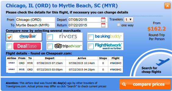 Chicago to Myrtle Beach airfare deal