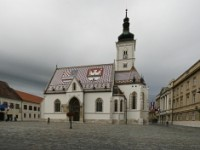 Square and church in Zagreb, Croatia