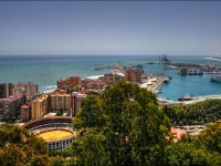 View about the malaga bull arena and the harbor