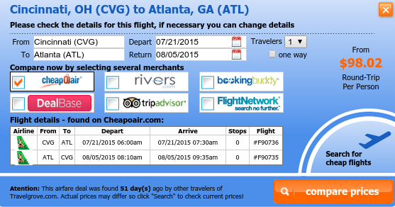 Fly from Cincinneti to Atlanta