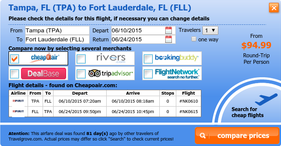 Tampa to Fort Lauderdale cheap flight deal