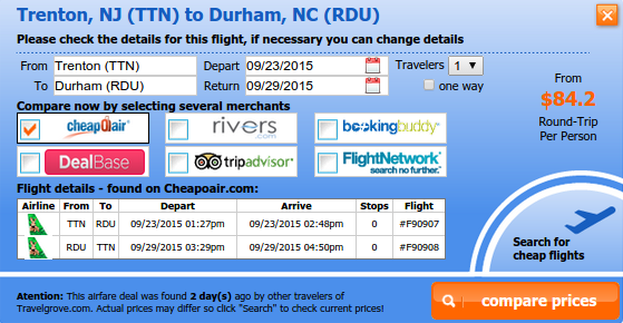 Trenton to Durham flight deal