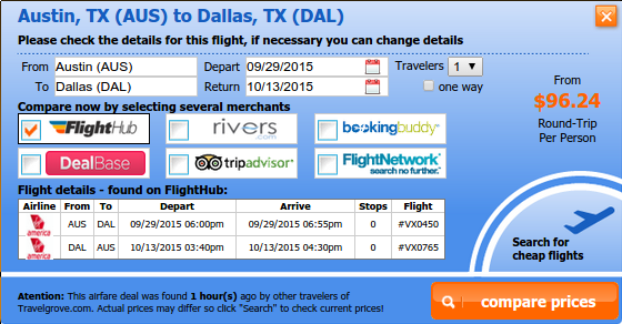Austin to Dallas airfare deal