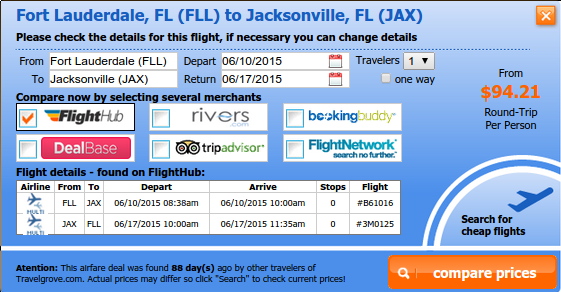 Fort Lauderdale to Jacksonville airfare deal