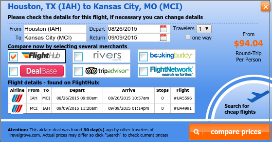 Airfare deal from Houston to Kansas City