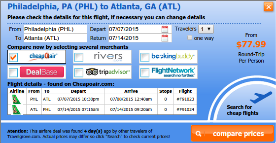 Cheap flight from Philadelphia to Atlanta