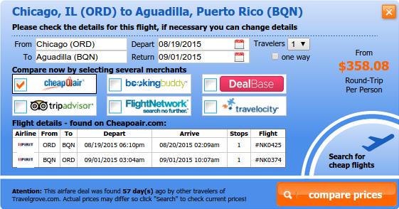 Chicago to Aguadilla airfare deal