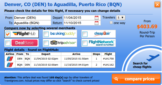 Airfare deal from Denver to Aguadilla
