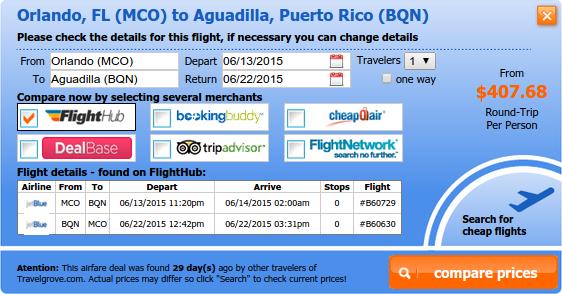 Cheap Orlando to Aguadilla flight