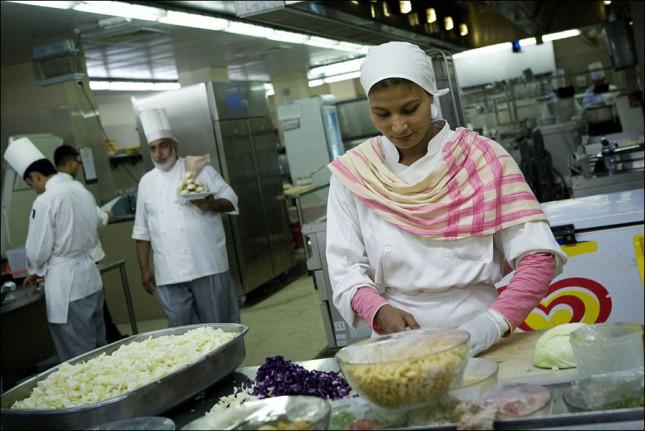 Busy hotel kitchen