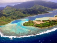 Aerial view over Huahine