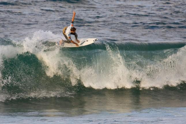 Surfing in Mundaka, Spain