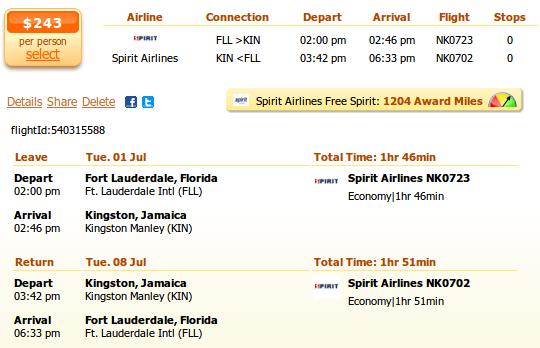 Fort Lauderdale to Kingston flight details