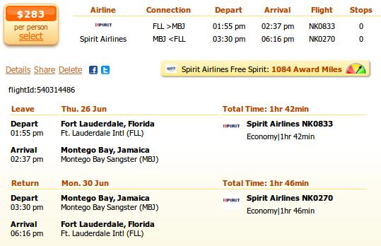 Fort Lauderdale to Montego Bay flight details
