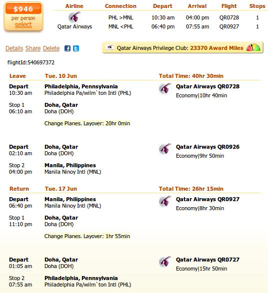 Philadelphia to Manila airfare details
