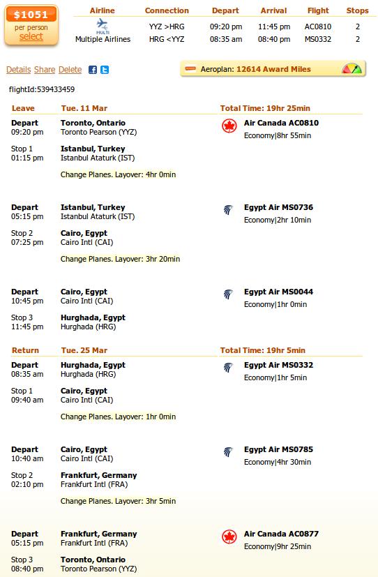 Toronto to Luxor flight details