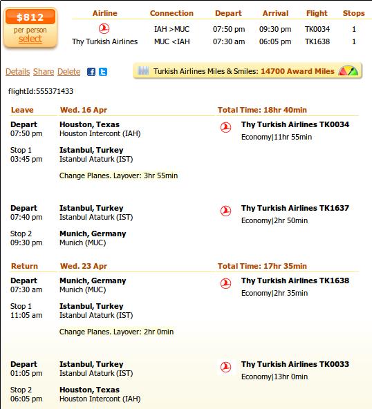 Houston to Munich airfare details