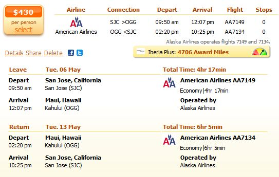 American Airlines airfares to Honolulu for $430 details