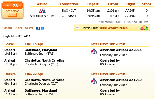 Baltimore to Charlotte airfare details