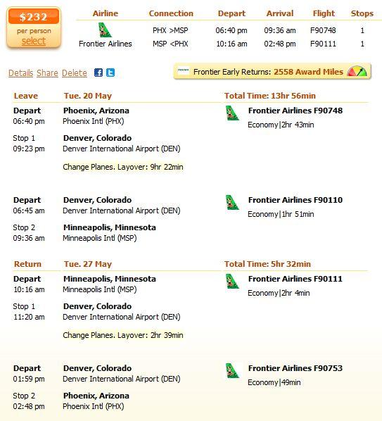 Frontier airfares to Phoenix under $250