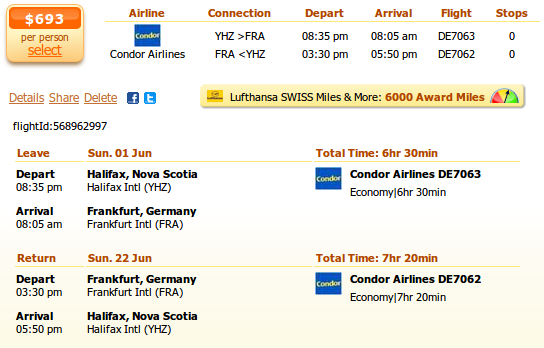 Halifax to Frankfurt flight deal details