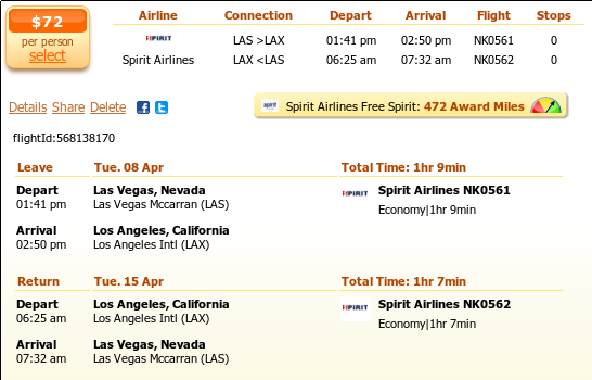 Las Vegas to Los Angeles airfare