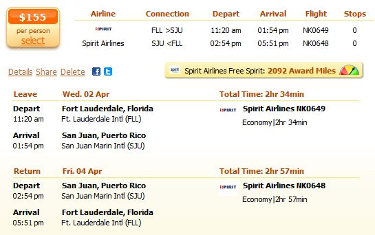 Fort Lauderdale to San Juan with Spirit Airlines details