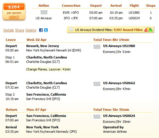 NYC to San Francisco flights on major and low cost carriers