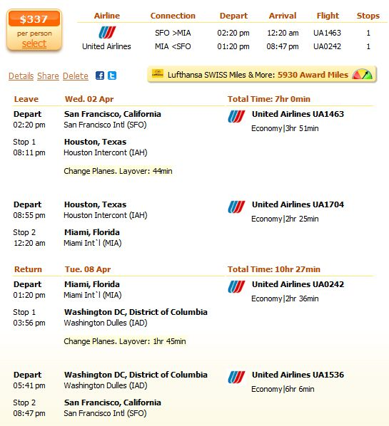 San Francisco to Miami flight with United details