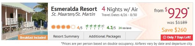 St. Martin getaway at Esmeralda Resort for $929