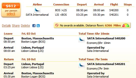 Flight details: Boston to Lisbon