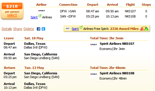 How long is a flight from San Diego California to Dallas Texas